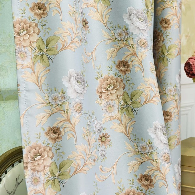 Luxury Blackout Curtains For Living Room Bedroom Window French Treatments Drapery Girls Floral Tulle Kitchen