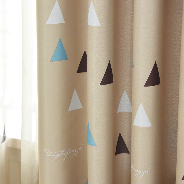 Triangular Pattern Blackout Curtains For Bedroom Living Room Modern Gray Curtain Kids Tulle And Cortina Para Sala