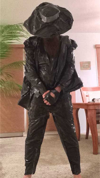 a moment of silence trash bag suit
