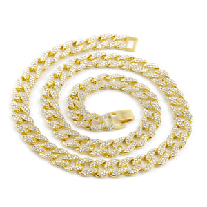 14 mm, Iced Out Cuban Link Chain