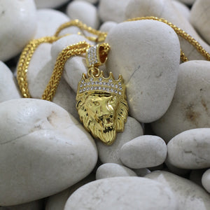 Gold Lion Head CZ Crown Necklace