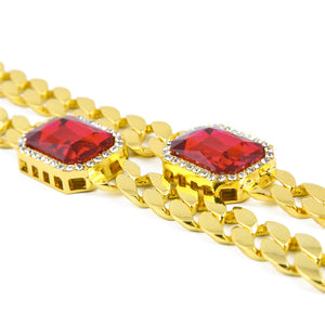 Double Ruby Pendant Iced out Gold Necklace