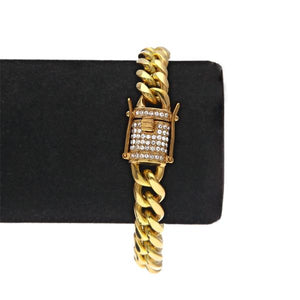 Gold CZ Cuban Miami Chain Bracelet