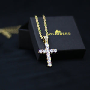 Iced Out Gold Cross Necklace