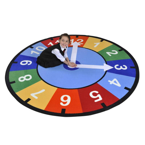 Rainbow Clock Learning Rug - edu Kidz