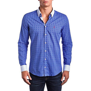 Men - Apparel - Shirts - Dress Shirts XS Signature Blue -Slim Fit dress shirt - Blue/White (Red Embroidered Logo) fashion clothing accessories shoes jewelry