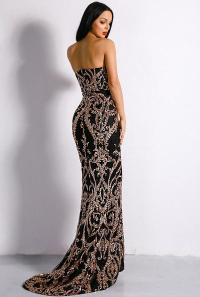 Women - Apparel - Dresses - Cocktail Black Embellished Sequin Gown