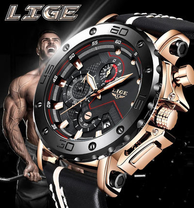 Jewelry LIGE Men's Watches Big Dial Military Quartz Watch Leather Waterproof Sport