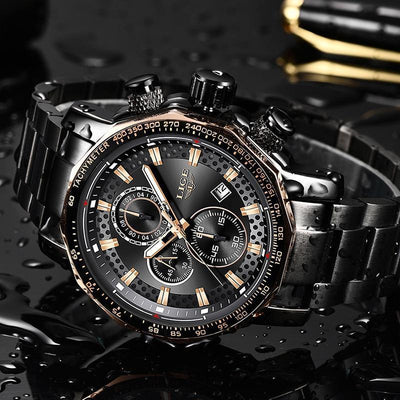 Jewelry Relogio Masculino LIGE New Sport Chronograph Mens Watches Waterproof Big Dial