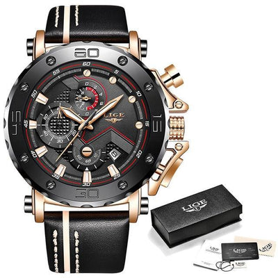 Jewelry Rose gold black LIGE Men's Watches Big Dial Military Quartz Watch Leather Waterproof Sport