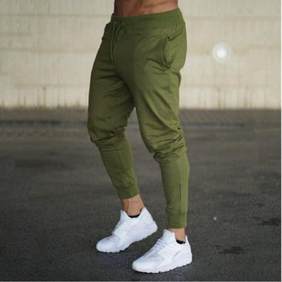 Men - Apparel - Pants - Trousers Army green / XXL Mens Sweatpants Autumn Winter Man Gyms Fitness Bodybuilding Joggers Workout Cotton