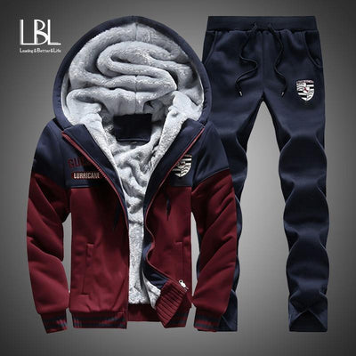 Men - Apparel - Pants - Trousers Men's Warm Thick Sports Suit