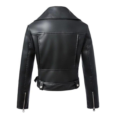 OUTERWEAR Black Faux Leather  Biker Jacket With Belt
