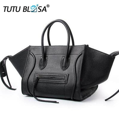 Big Black New Famous Designer Brand Luxury Women Leather Handbags Fashion Smile Face Tote Quality Trapeze Smiley Clutches Bolsa Feminina