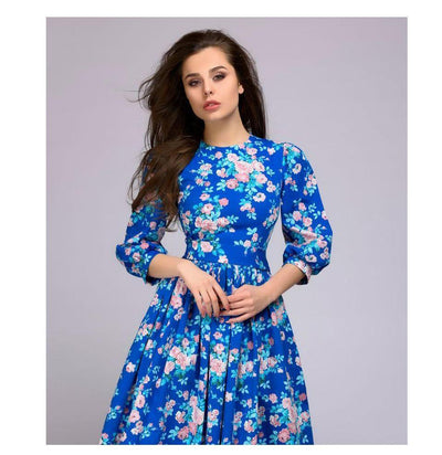 Dress as picture / L Lantern Sleeve Floral Midi Dress fashion clothing accessories shoes jewelry