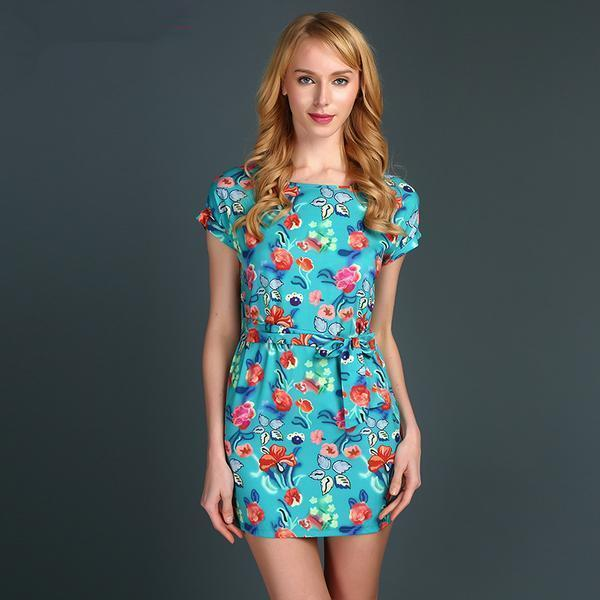 Dress as picture / L Short Sleeve Belted Floral Mini Dress fashion clothing accessories shoes jewelry