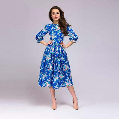 Dress Lantern Sleeve Floral Midi Dress fashion clothing accessories shoes jewelry