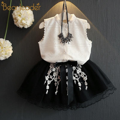 KIDS CLOTHES az378 white / 3T Girls Dress Casual Dress Summer Style Girls Sleeveless White Lace 2Pcs