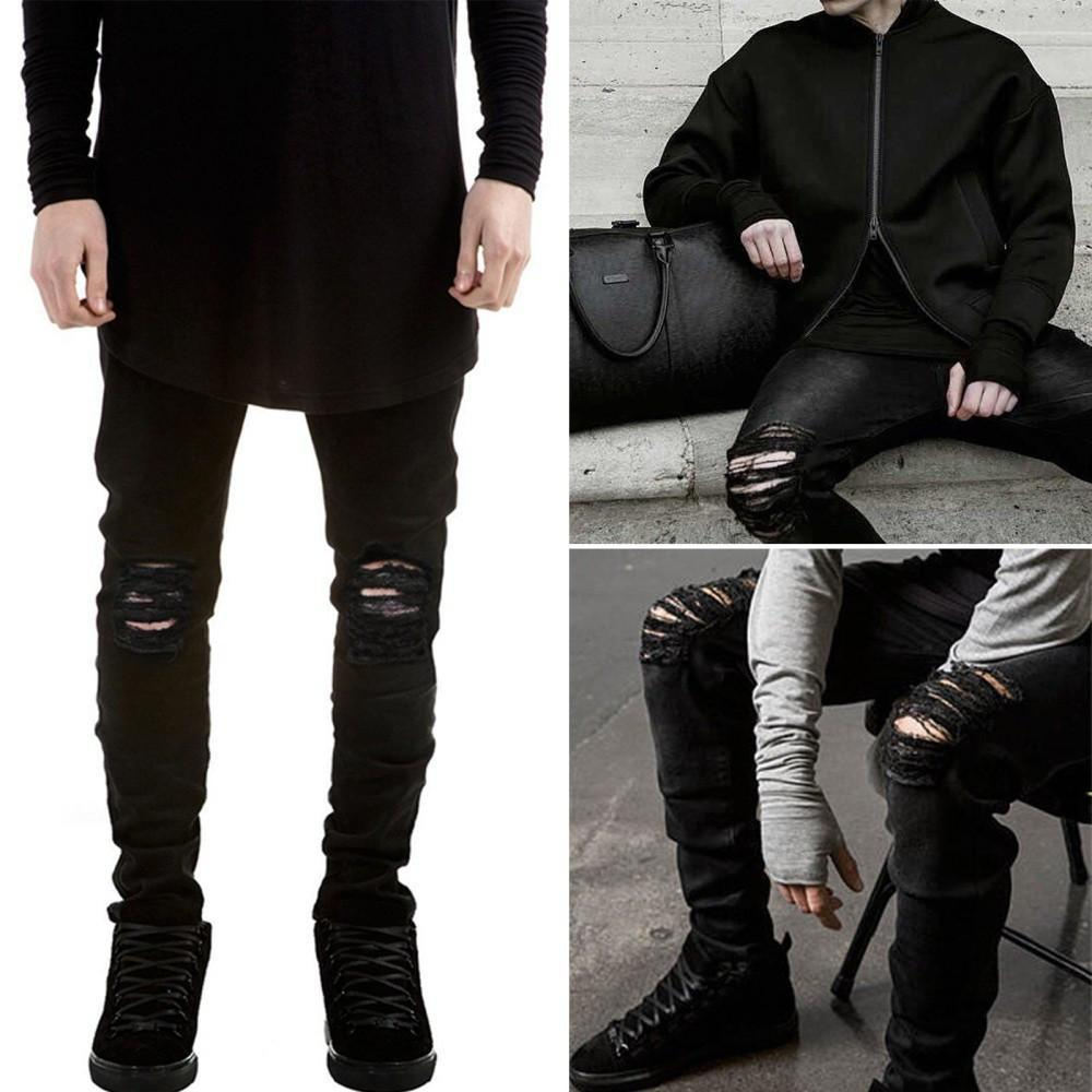 Men - Apparel - Pants - Trousers 27 Men's fashion flanging jeans slim straight jeans fashion clothing accessories shoes jewelry
