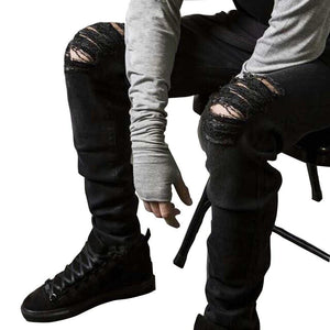 Men - Apparel - Pants - Trousers Men's fashion flanging jeans slim straight jeans fashion clothing accessories shoes jewelry