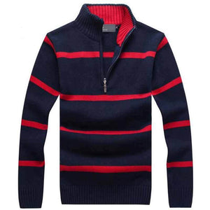 Men - Apparel - Sweaters - Pull Over Men Casual Stand Collar Striped Sweater fashion clothing accessories shoes jewelry