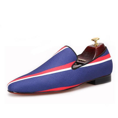 Men - Shoes - Loafers & Drivers Blue / 4 Square Toe  Striped Canvas Loafers fashion clothing accessories shoes jewelry