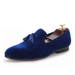 Men - Shoes - Loafers & Drivers Blue / 6 Velvet Elegant Tassel Loafers fashion clothing accessories shoes jewelry