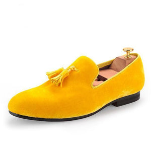 Men - Shoes - Loafers & Drivers Gold / 6 Velvet Elegant Tassel Loafers fashion clothing accessories shoes jewelry