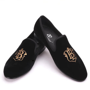Men - Shoes - Loafers & Drivers Gold Embroidery Handmade Velvet Loafers fashion clothing accessories shoes jewelry