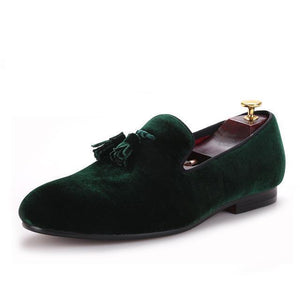 Men - Shoes - Loafers & Drivers Green / 6 Velvet Elegant Tassel Loafers fashion clothing accessories shoes jewelry
