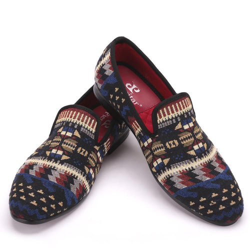 Men - Shoes - Loafers & Drivers Handcrafted Cotton Printed Loafers fashion clothing accessories shoes jewelry