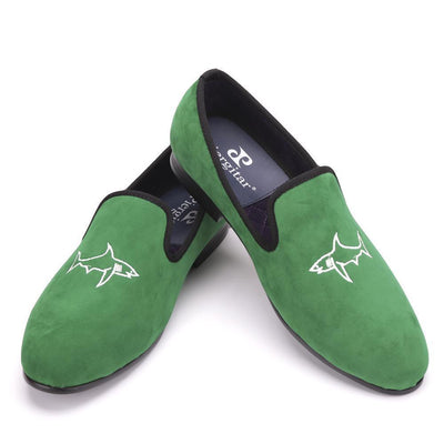 Men - Shoes - Loafers & Drivers Handcrafted Green Velvet Loafers fashion clothing accessories shoes jewelry