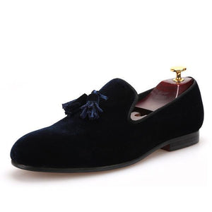 Men - Shoes - Loafers & Drivers Navy Blue / 6 Velvet Elegant Tassel Loafers fashion clothing accessories shoes jewelry