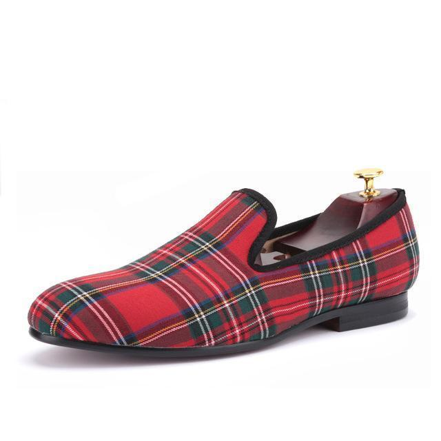 Men - Shoes - Loafers & Drivers Red / 6 Handmade Scotch Plaid Casual Loafers fashion clothing accessories shoes jewelry