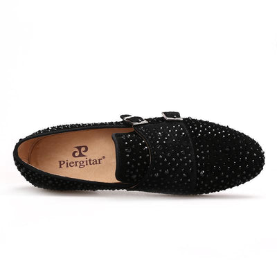Men - Shoes - Loafers & Drivers Suede Black Rhinestone Loafers fashion clothing accessories shoes jewelry