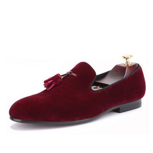 Men - Shoes - Loafers & Drivers Wine Red / 6 Velvet Elegant Tassel Loafers fashion clothing accessories shoes jewelry