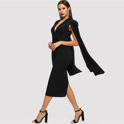 Women dress Black Cape Shawl Sleeve with Deep V Neck