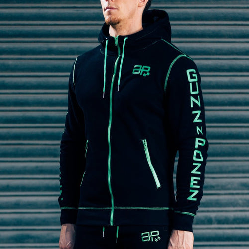 Men - Apparel - Activewear - Tops CozyFit Hoodie - Black & Green Fashion Madness