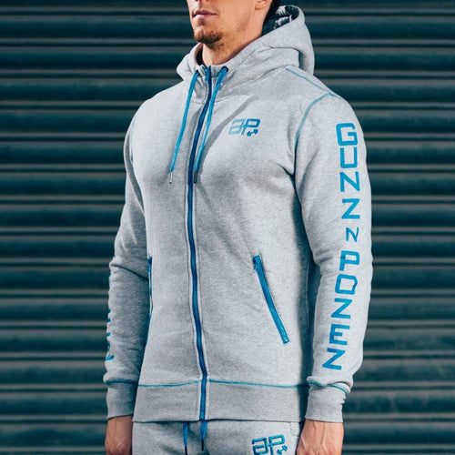 Men - Apparel - Activewear - Tops CozyFit Hoodie - Grey & Blue Fashion Madness