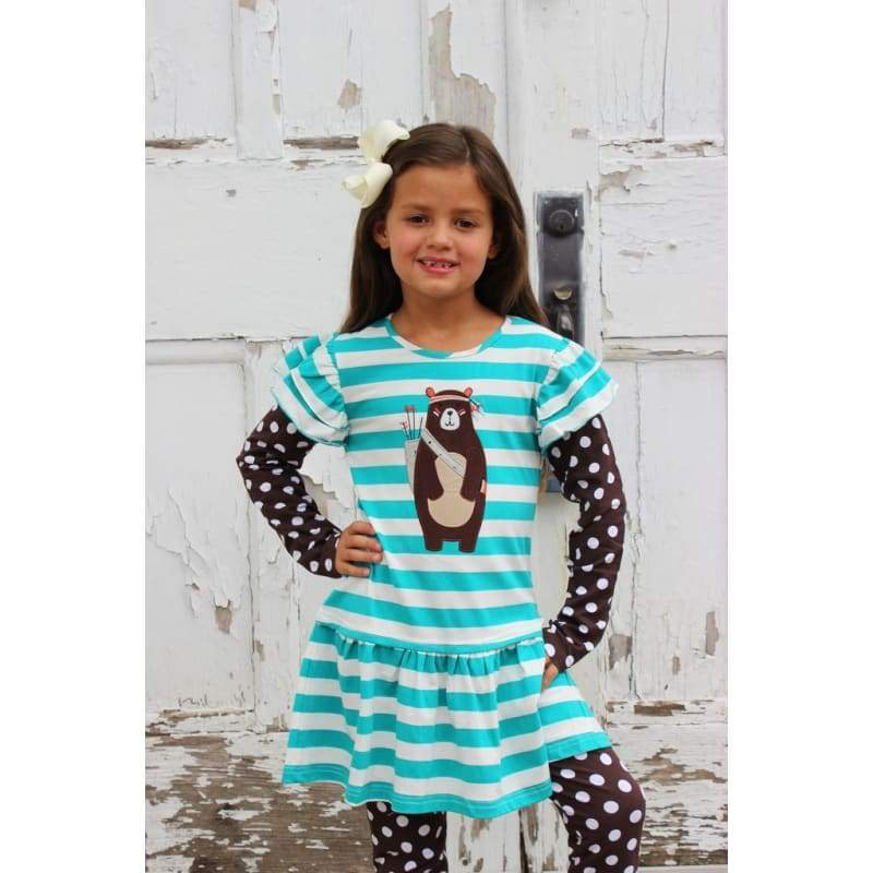 Kids - Girls - Apparel Girls Tribal Bear Dress Fashion Madness