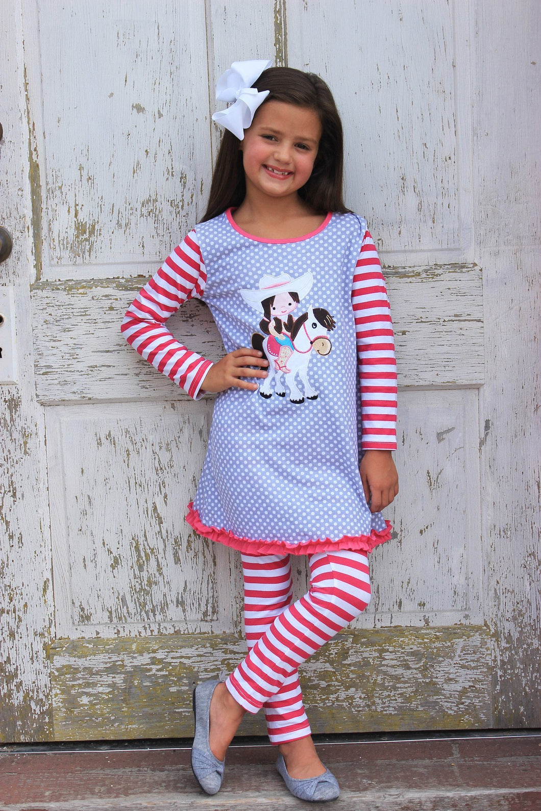 Kids - Girls - Apparel Heather Hill - Girls Cowgirl Horse Applique Dress & Pant Set fashion clothing accessories shoes jewelry