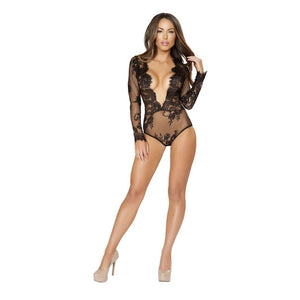 Women - Apparel - Lingerie and Sleepwear - Camisoles and Tanks L/XL Long Sleeved Teddy with Open V-Shaped Front Fashion Madness