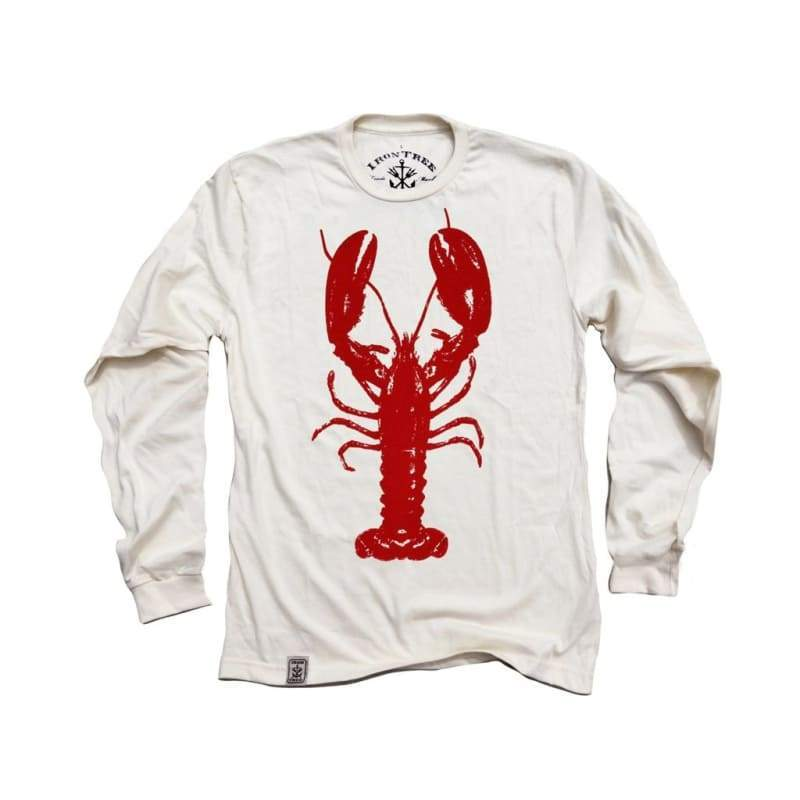 Men - Apparel - Shirts - T-Shirts Rock Lobster: Organic Fine Jersey Long Sleeve T-Shirt in Unbleached Natural Fashion Madness