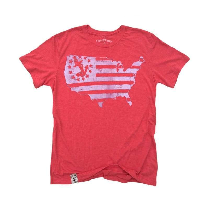 Men - Apparel - Shirts - T-Shirts US Map Yacht Ensign: Tri-Blend Short Sleeve T-Shirt in Tri Red & White Fashion Madness