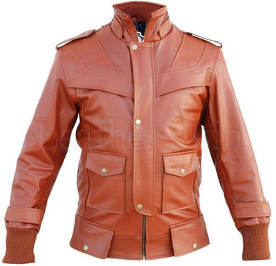 Men - Apparel - Outerwear - Jackets Maroon Red Genuine Leather Jacket