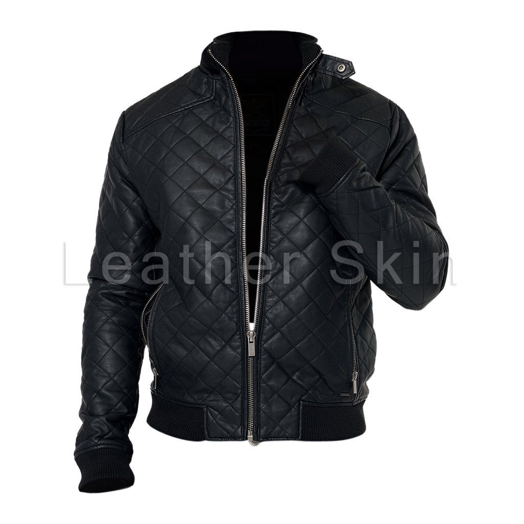 2e5b94f2795c7 Men Black Diamond Quilted Leather Jacket