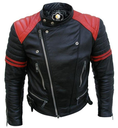 Men - Apparel - Outerwear - Jackets Men Black Red Padded Leather Jacket