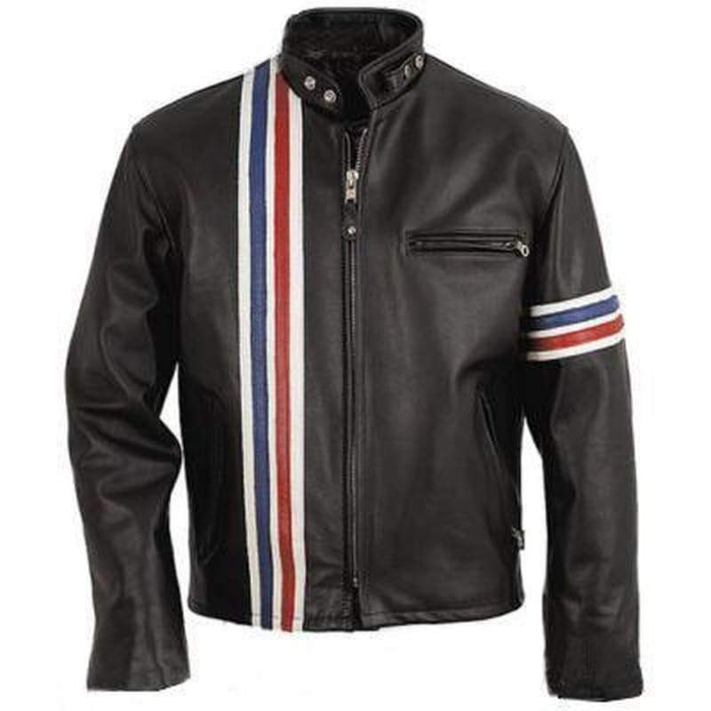 Men - Apparel - Outerwear - Jackets Men Black Stripes Biker Leather Jacket Fashion Madness