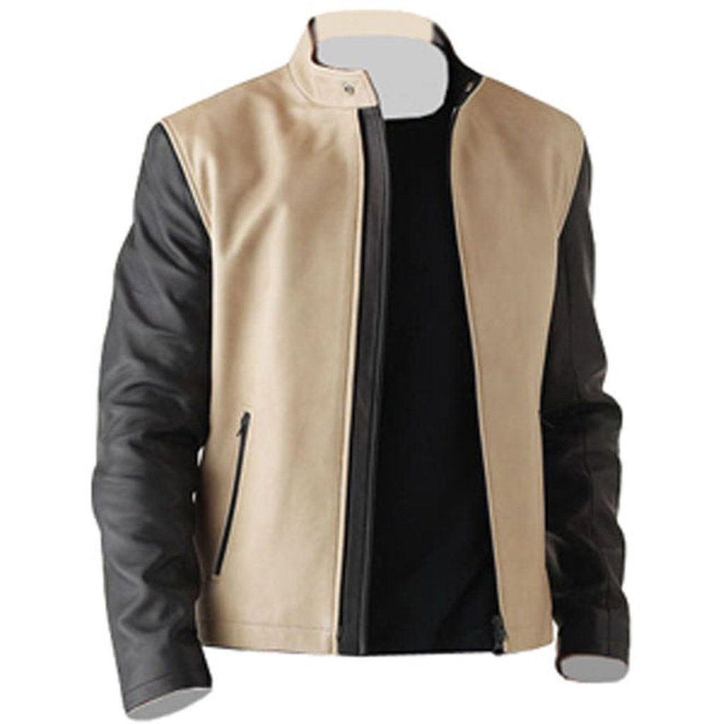 Men - Apparel - Outerwear - Jackets Men Cream Fashion Leather Jacket fashion clothing accessories shoes jewelry