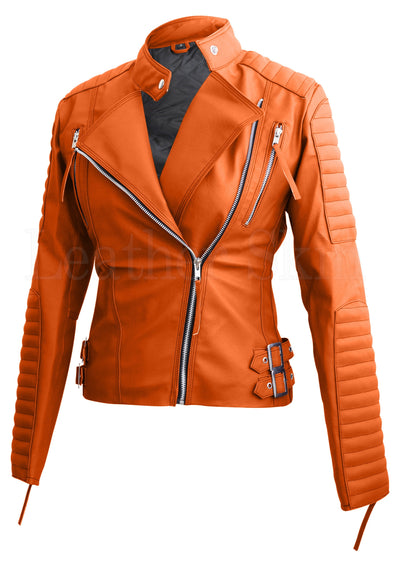Women - Apparel - Outerwear - Jackets Orange Brando Women Faux Leather Jacket
